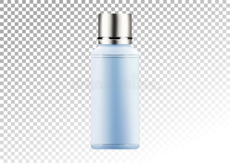 Vector empty silver and blue package for cosmetic products tube and bottle for lotion, shower gel, shampoo, tonic. Realistic mocku royalty free illustration