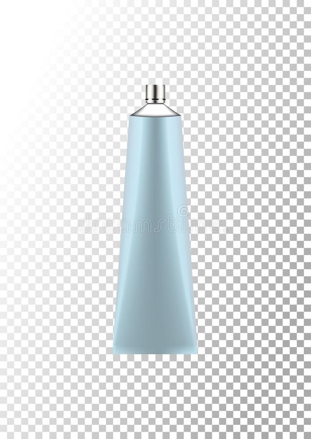 Vector empty silver and blue package for cosmetic products tube for lotion, shower gel, shampoo, cream. Realistic mockup of plasti. Vector empty silver and blue royalty free illustration