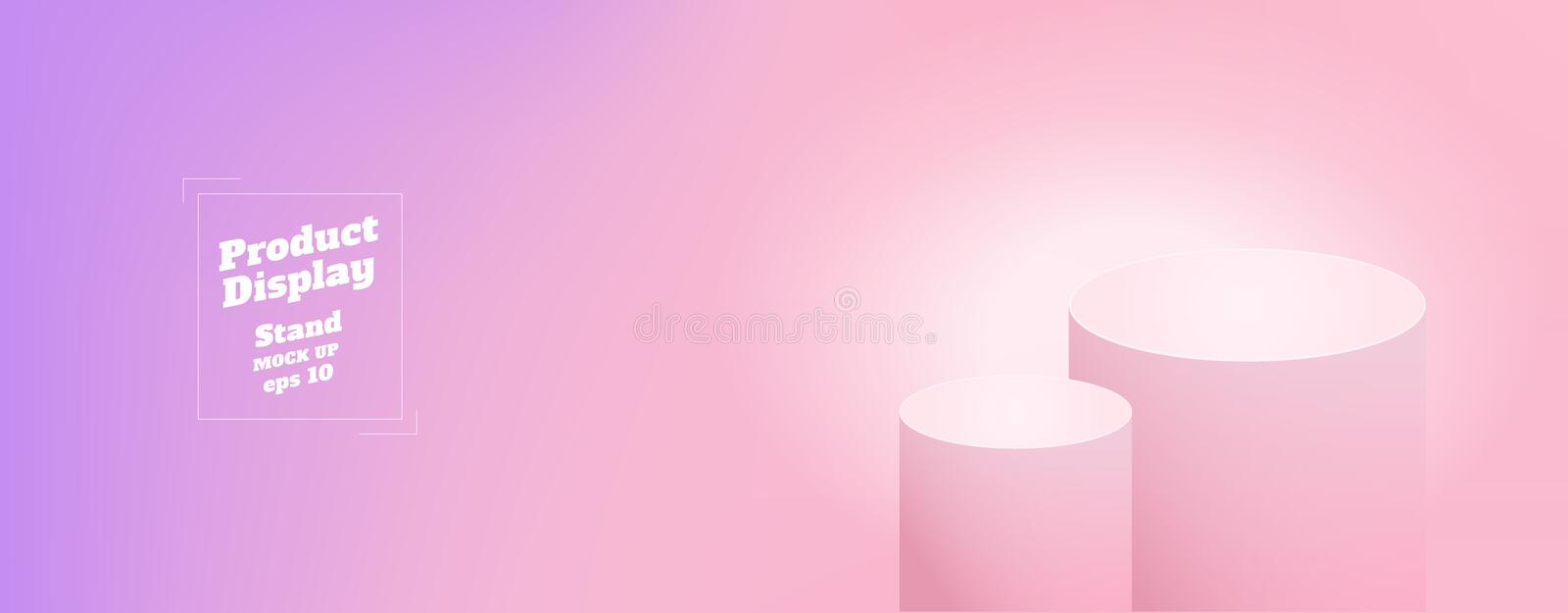 Vector,Empty subtle gradient purple to pink color studio round kiosk stand background ,product display with copy space for display stock illustration