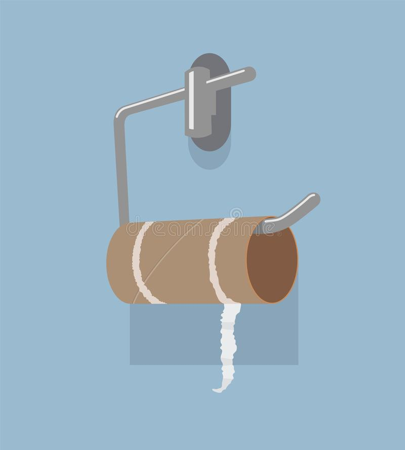 Vector empty toilet paper roll and metal holder stock illustration