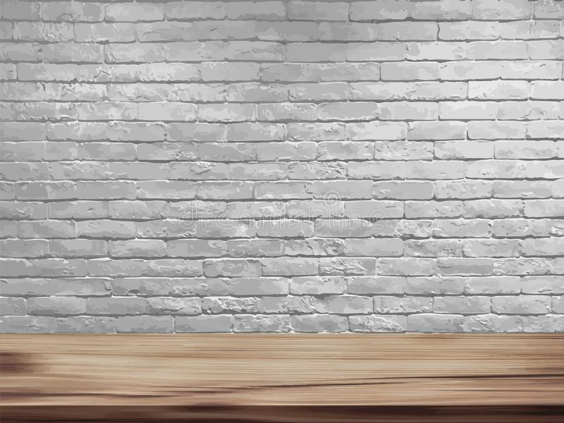 Vector empty top of natural wooden table and retro white brick wall background vector illustration