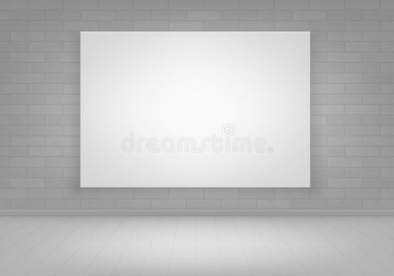 Vector Empty White Mock Up Poster Picture Frame on Brick Wall with Floor Front View. Vector Empty Blank White Mock Up Poster Picture Frame on Brick Wall with stock illustration