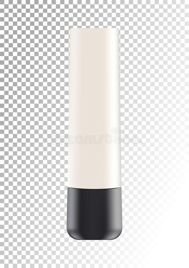Vector empty white package with black lid for cosmetic products tube for cream,foundation. Realistic mockup of plastic stock illustration