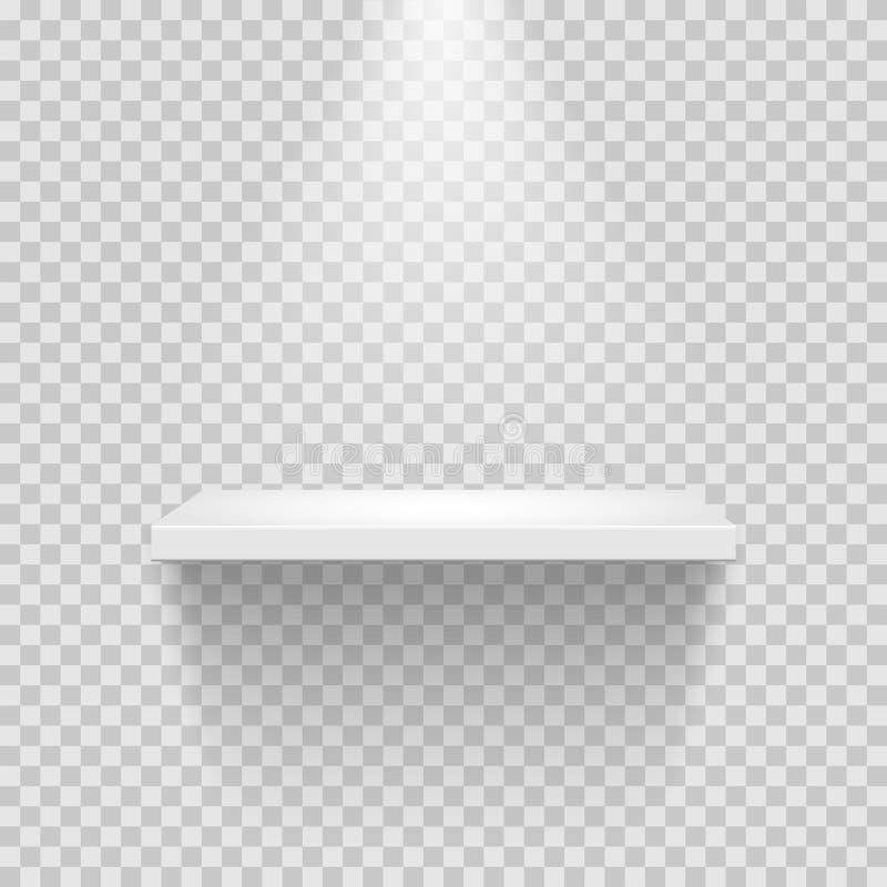 Vector empty white shelf isolated on transparent background. royalty free illustration