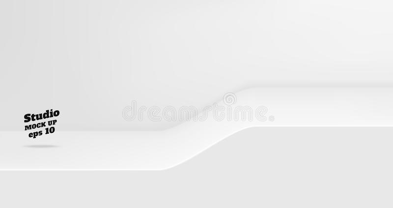 Vector Empty white studio table with slope step room background ,product display with copy space for display of content design. vector illustration