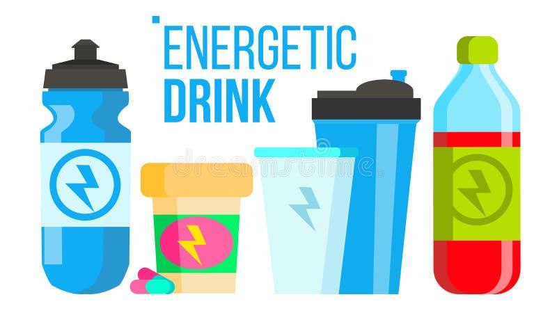 Vector enérgico de la bebida Icono de la energía La botella, deporte puede o lata Ejemplo plano aislado de la historieta stock de ilustración