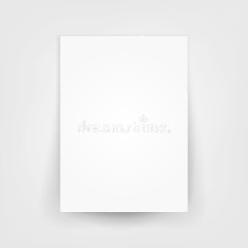 Vector en blanco de la lona del papel del blanco 3d Ejemplo de papel vacío de la hoja con la sombra stock de ilustración