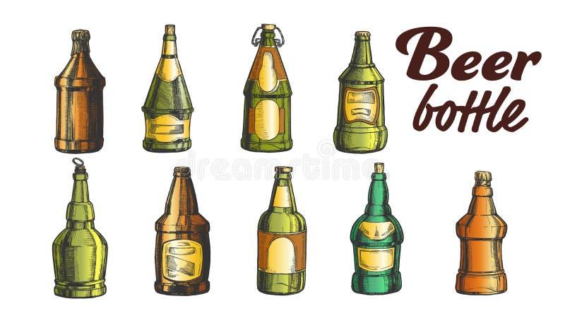 Vector en blanco exhausto del sistema de la botella de cerveza del color de la mano ilustración del vector