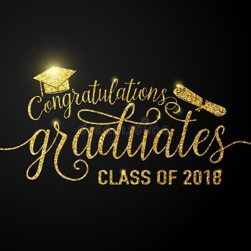 Vector en clase negra de los graduados 2018 de la enhorabuena del fondo de las graduaciones stock de ilustración