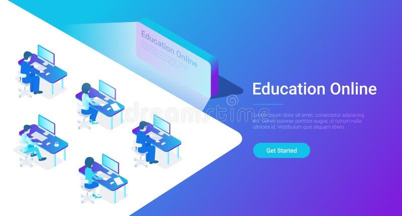 Vector en línea de la educación isométrica plana Wor de la gente stock de ilustración