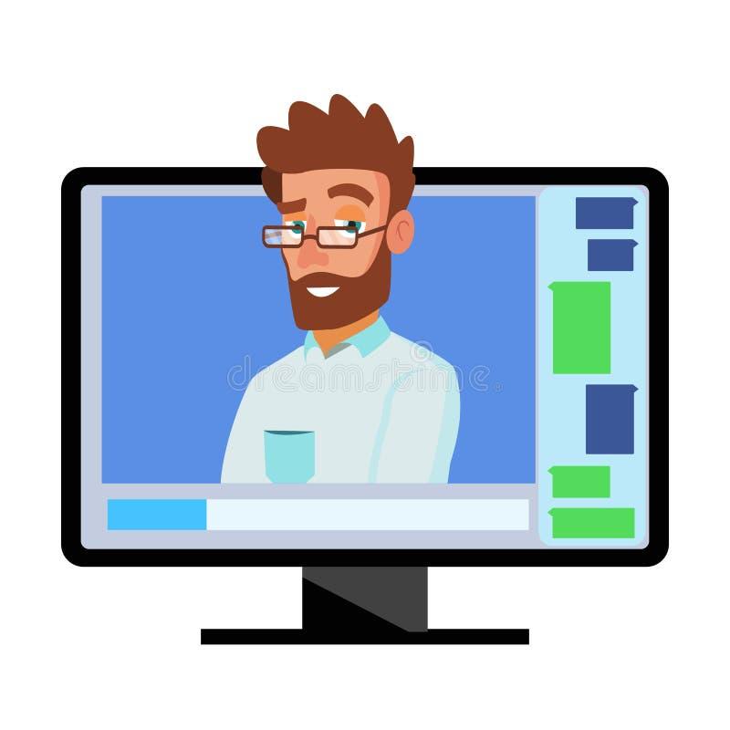 Vector en línea de la videoconferencia Hombre y charla El director comunica con el personal Webinar Reunión de negocios, consulta ilustración del vector