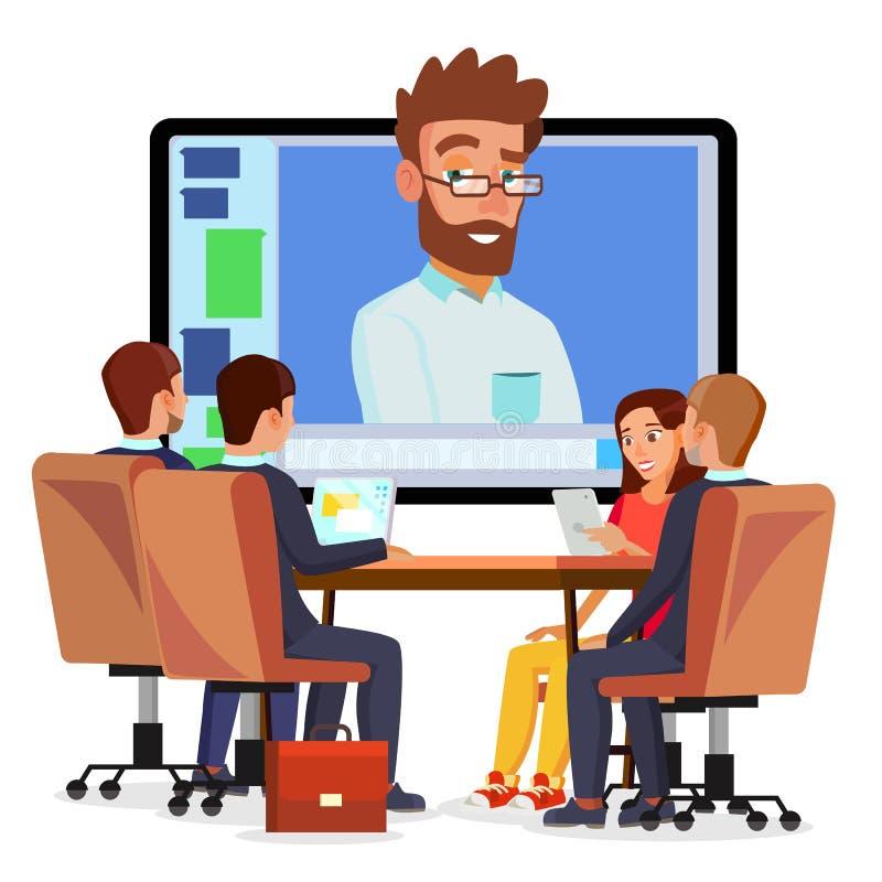 Vector en línea de la videoconferencia Hombre y charla El director comunica con el personal Webinar Reunión de negocios, consulta libre illustration