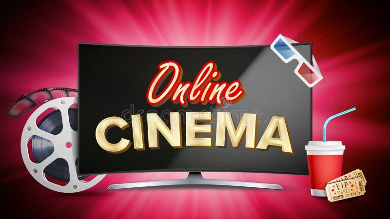 Vector en línea del cartel del cine Concepto moderno del monitor de computadora Tira de película, carrete, chapaleta de la pelícu stock de ilustración