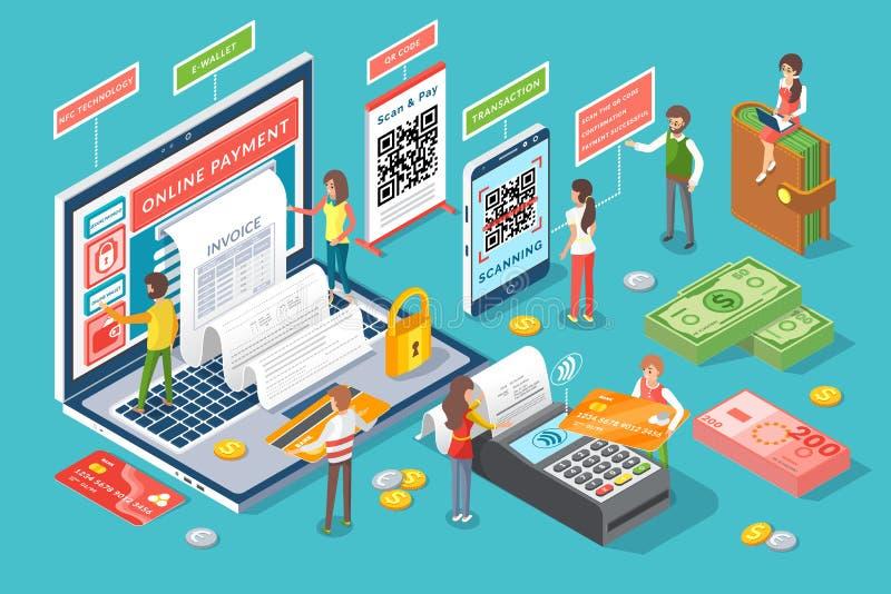 Vector en línea del cartel de la tecnología de la factura del pago stock de ilustración