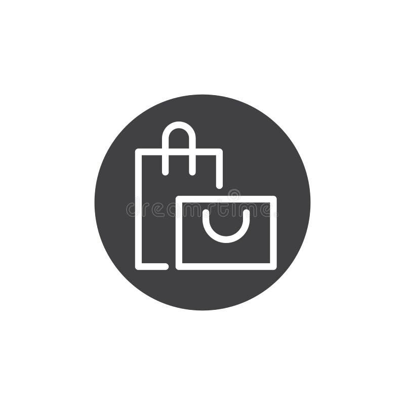 Vector en línea del icono del botón del panier ilustración del vector