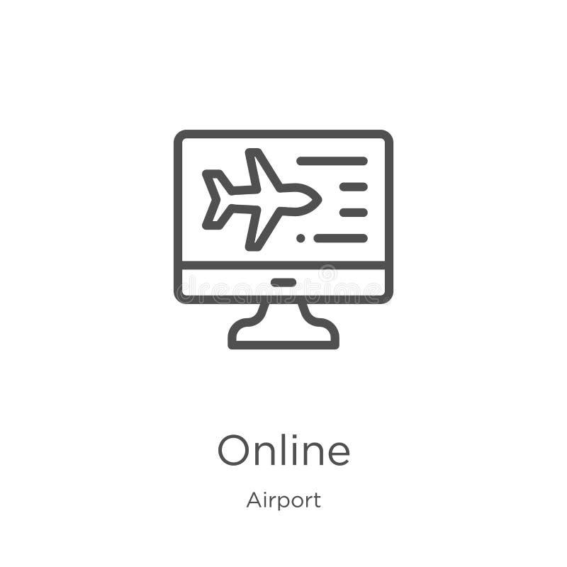 vector en línea del icono de la colección del aeropuerto L?nea fina ejemplo en l?nea del vector del icono del esquema Esquema, lí libre illustration