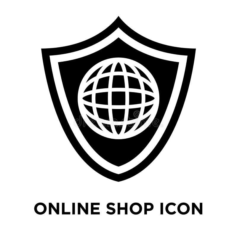 Vector en línea del icono de la tienda aislado en el fondo blanco, conce del logotipo stock de ilustración