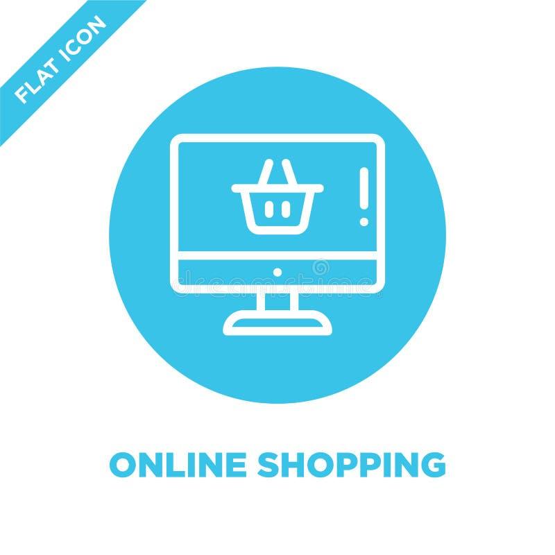 Vector en línea del icono de las compras Línea fina ejemplo en línea del vector del icono del esquema que hace compras símbolo qu stock de ilustración