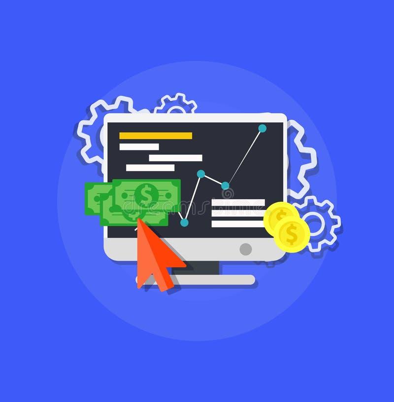 Vector en línea del márketing de la tienda Icono del concepto del comercio del negocio de la tecnología del negocio del almacenaj stock de ilustración
