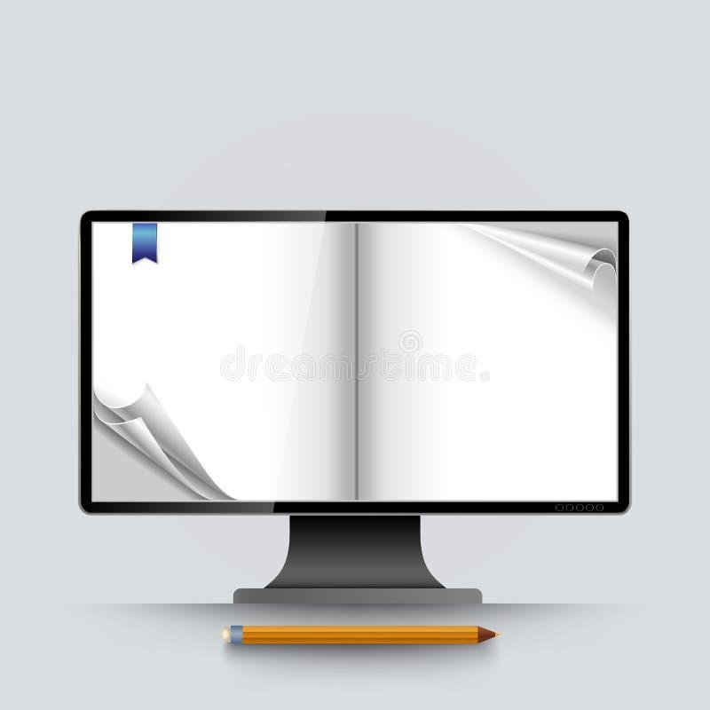 Vector encrespado vacío de las páginas de la pantalla de ordenador abstracta stock de ilustración
