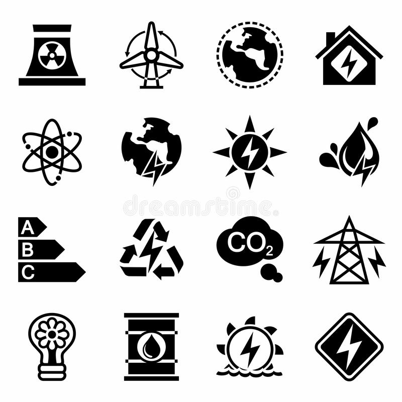 Free Vector Energetics Icon Set Stock Images - 64696504
