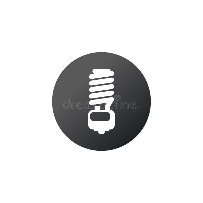 Vector energy saving fluorescent light bulb button. Stock Vector illustration isolated on white background vector illustration