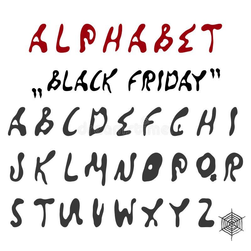 Vector Engels alfabet van de vlekken van verf vector illustratie