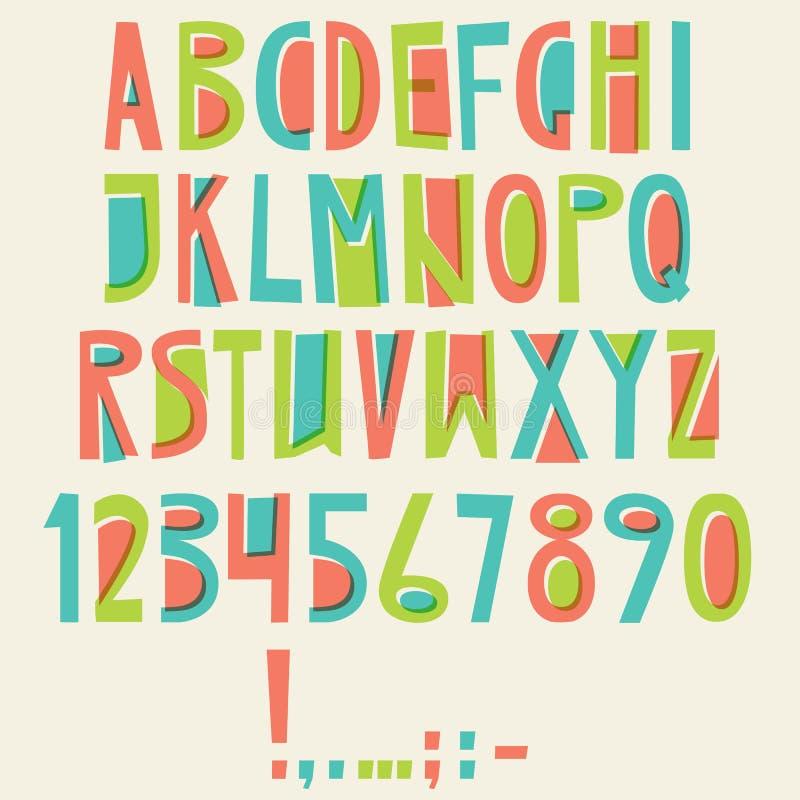 Vector Engels Latijns alfabet Brieven, Aantallen, Symbolen Isolat stock illustratie