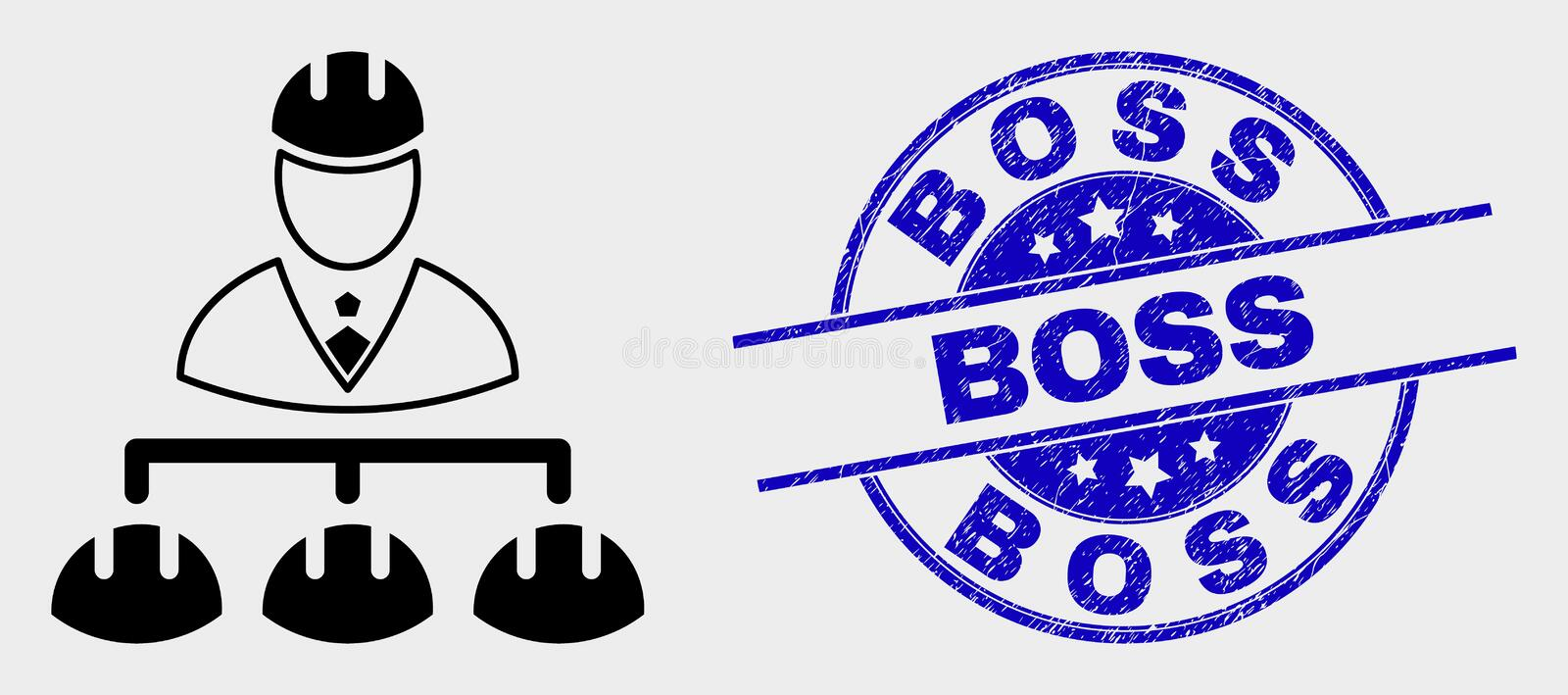 Vector Engineer Hierarchy Icon and Scratched Boss Watermark vector illustration