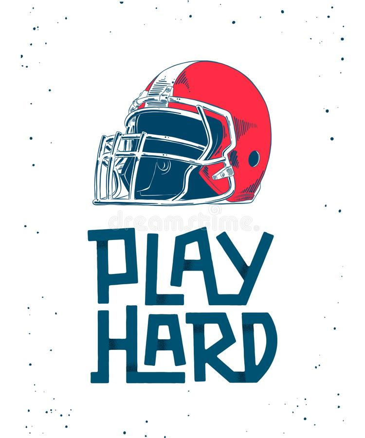 Hand drawn sketch of red american football helmet, modern lettering with shadows on white background. Vector engraved style detailed illustration for posters stock illustration