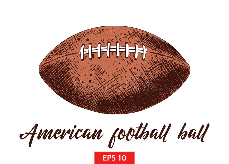 Hand drawn sketch of american football ball in colorful isolated on white background. Detailed vintage etching style drawing. royalty free stock image