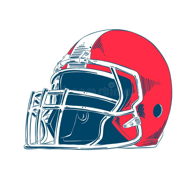 Hand drawn sketch of american football helmet in colorful isolated on white background. Detailed vintage etching style drawing. Vector engraved style royalty free illustration