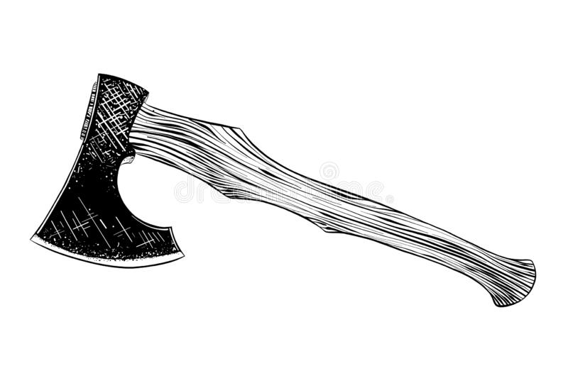 Hand drawn sketch of axe in black isolated on white background. Detailed vintage etching style drawing. stock illustration