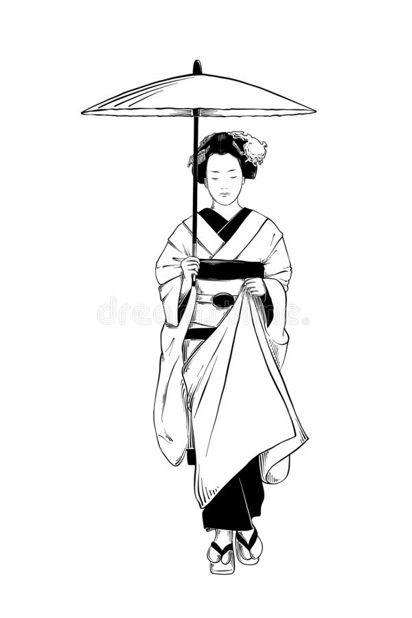 Hand drawn sketch of japanese geisha isolated on white background. Detailed vintage etching drawing. Vector engraved style illustration for posters, decoration stock illustration