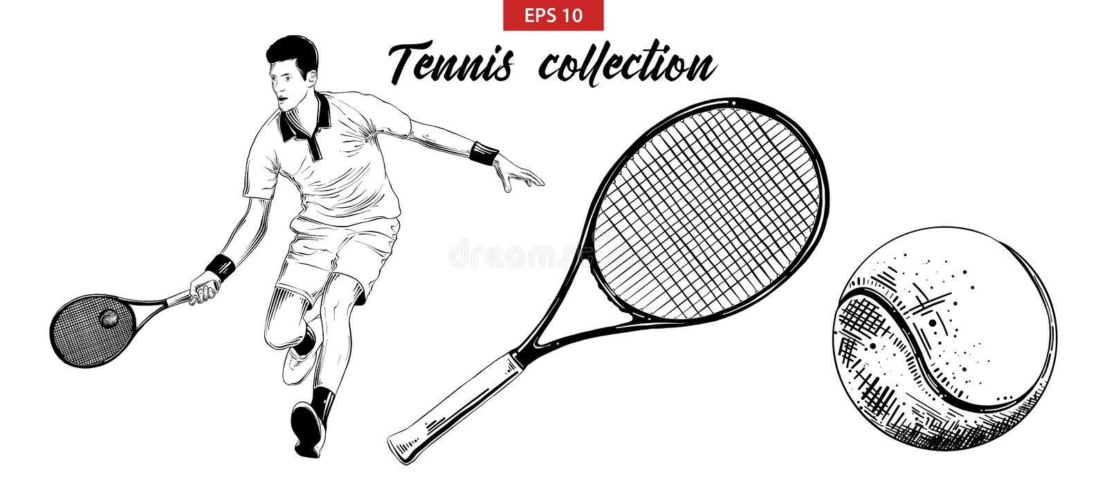 Hand drawn sketch set of tennis player, tennis racket and ball isolated on white background. Detailed vintage etching drawing. Vector engraved style royalty free illustration