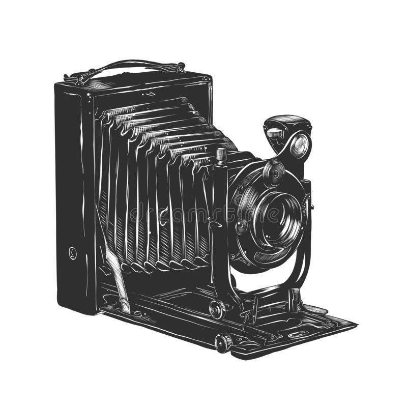 Hand drawn sketch of vintage camera in monochrome isolated on white background. Detailed woodcut style drawing. Vector engraved style illustration for posters royalty free illustration