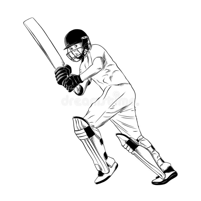 Hand drawn sketch of cricket player in black isolated on white background. Detailed vintage etching style drawing. Vector engraved style illustration for royalty free illustration