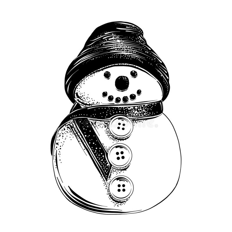 Hand drawn sketch of Christmas snowman in black isolated on white background. Detailed vintage etching style drawing. Vector engraved style illustration for royalty free illustration