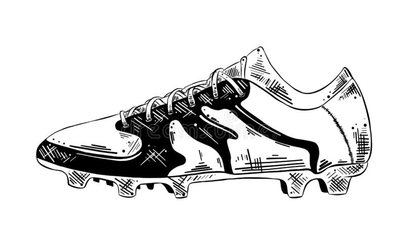 Hand drawn sketch of soccer shoe in black isolated on white background. Detailed vintage etching style drawing. Vector engraved style illustration for posters stock illustration