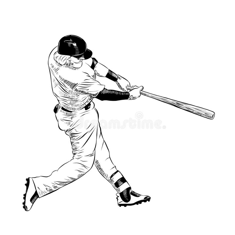 Hand drawn sketch of baseball player in black isolated on white background. Detailed vintage etching style drawing. stock illustration