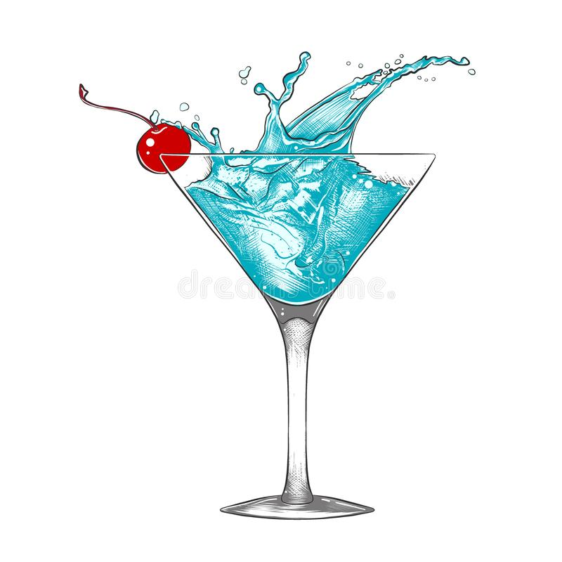 Hand drawn sketch of blue lagoon cocktail with splashes, colorful isolated on white background. Vector engraved style illustration for posters, decoration and stock illustration
