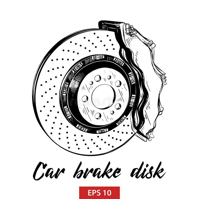 Hand drawn sketch of car brake disk in black isolated on white background. Detailed vintage etching style drawing. Vector engraved style illustration for royalty free illustration