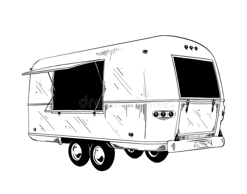 Hand drawn sketch of food truck in black isolated on white background. Detailed vintage etching style drawing. Vector engraved style illustration for posters vector illustration