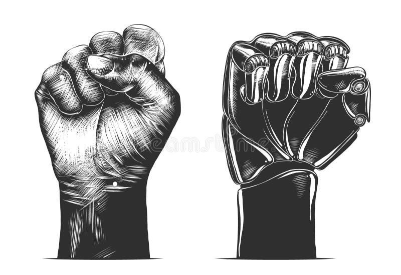 Croquis dessiné à la main d'un geste de poing humain et robot en mode monochrome, isolé sur fond blanc.  Gravure sur bois vintage détaillée dans l'illustration vectorielle figure