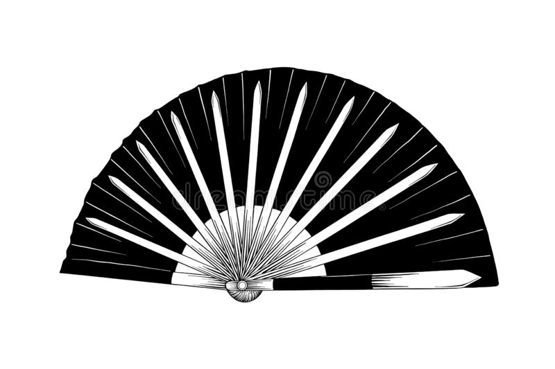 Hand drawn sketch of japanese fighting fan isolated on white background. Detailed vintage etching drawing. Vector engraved style illustration for posters stock illustration
