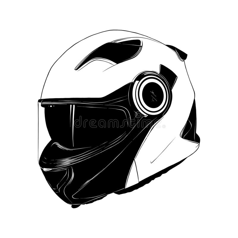 Hand drawn sketch of motorcycle helmet in black isolated on white background. Detailed vintage etching style drawing. stock illustration