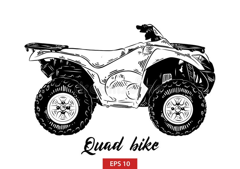 Hand drawn sketch of quad bike in black isolated on white background. Detailed vintage etching style drawing. royalty free illustration