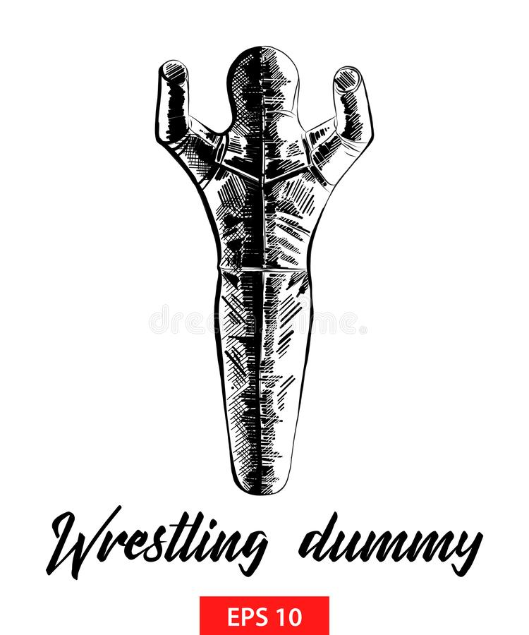 Hand drawn sketch of wrestling dummy in black isolated on white background. Detailed vintage etching style drawing. Vector engraved style illustration for stock illustration