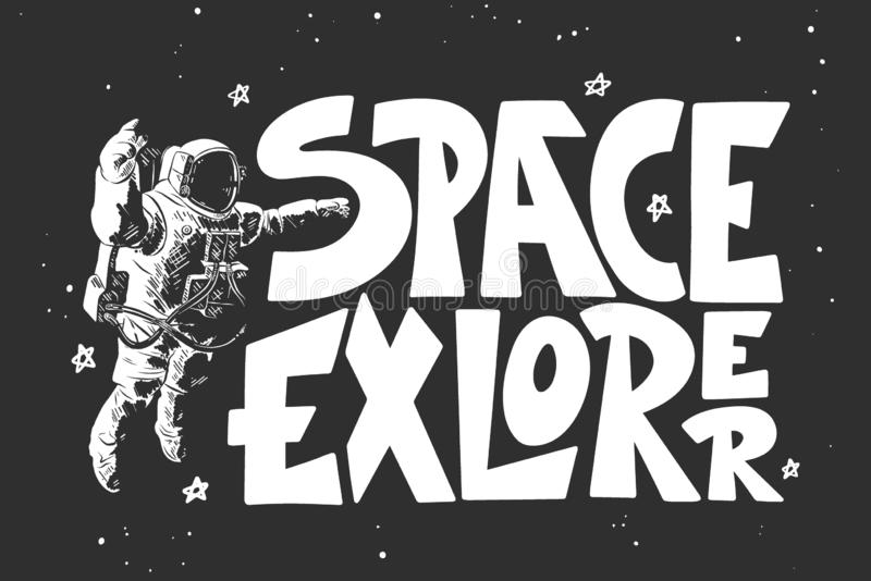 Hand drawn sketch of astronaut with modern lettering on black background. Space explorer stock photo