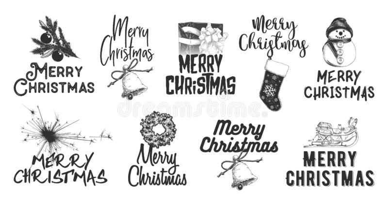 Hand drawn sketch set Christmas and New Year holiday on white background. Detailed vintage etching drawing. Vector engraved style illustration with typography royalty free illustration